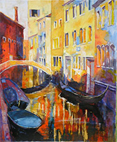 Michele CARER - peintre - toile - Canal in the sun