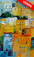 Michele CARER - peintre - toile - Upper town and lower town