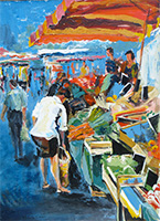 Michele CARER - peintre - toile - Blue market