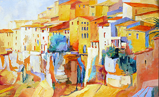 Michele CARER - peintre - toile - The steep hilltop village